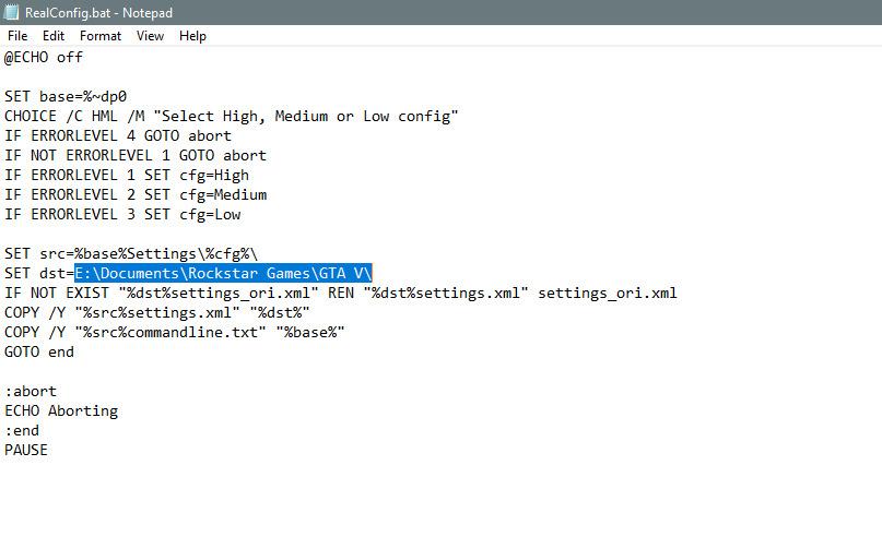 Edit RealConfig.bat